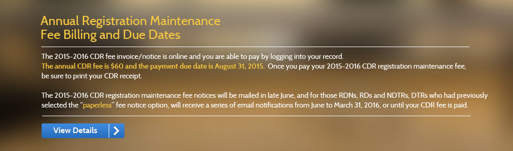 Annual Registration Maintenance  Fee Billing and Due Dates