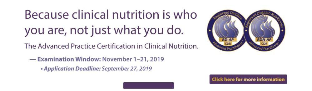 Advanced Practice Certification  in Clinical Nutrition